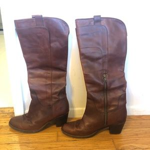 Frye Jackie Zip Tall Riding Boots in Redwood